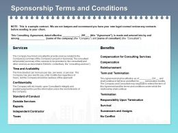 Sponsorship Terms And Conditions Services Ppt Powerpoint Presentation File Example