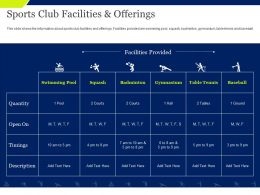 Sports Club Facilities And Offerings Quantity Ppt Powerpoint Presentation Icon