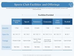 Sports Club Facilities And Offerings Timings M1876 Ppt Powerpoint Presentation Icon Diagrams