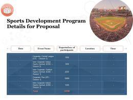 Sports Development Program Details For Proposal Ppt Powerpoint Presentation Information