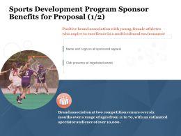 Sports Development Program Sponsor Benefits For Proposal Brand Ppt Powerpoint Presentation Tips