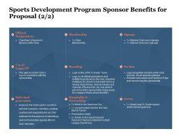Sports Development Program Sponsor Benefits For Proposal Ppt Powerpoint Presentation Themes