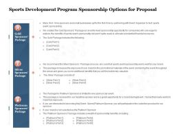 Sports Development Program Sponsorship Options For Proposal Ppt Powerpoint Presentation Microsoft