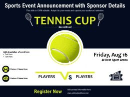 Sports Event Announcement With Sponsor Details