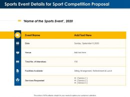 Sports Event Details For Sport Competition Proposal Ppt Powerpoint Template Gallery