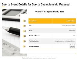 Sports Event Details For Sports Championship Proposal Ppt Powerpoint Presentation Visuals