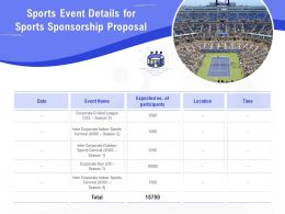 Sports Event Details For Sports Sponsorship Proposal Ppt Powerpoint Presentation Tips