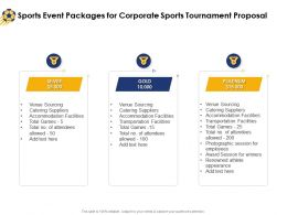 Sports Event Packages For Corporate Sports Tournament Proposal Ppt Summary