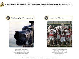 Sports Event Service List For Corporate Sports Tournament Proposal Ppt Portfolio