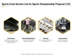 Sports Event Service List For Sports Championship Proposal Catering Ppt Presentation Styles Icons