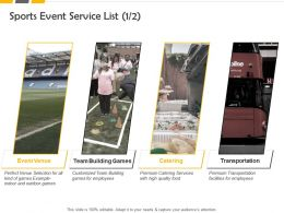 Sports Event Service List Ppt Powerpoint Presentation Layouts Graphics Example