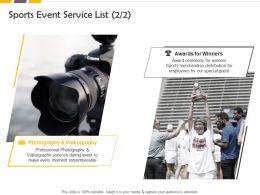 Sports Event Service List Ppt Powerpoint Presentation Portfolio Icons