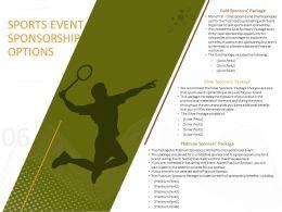 Sports Event Sponsorship Options Ppt Powerpoint Presentation Portfolio Designs