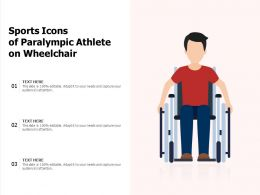 Sports Icons Of Paralympic Athlete On Wheelchair