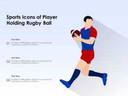 Sports Icons Of Player Holding Rugby Ball