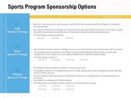 Sports Program Sponsorship Options Ppt Powerpoint Presentation Example File