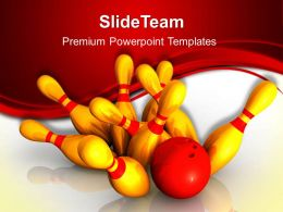 Sports Strategy Games Powerpoint Templates Bowling Success Ppt Slides