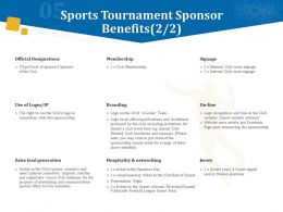 Sports Tournament Sponsor Benefits Ppt Powerpoint Presentation Visual Aids