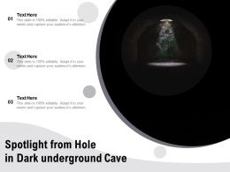 Spotlight From Hole In Dark Underground Cave