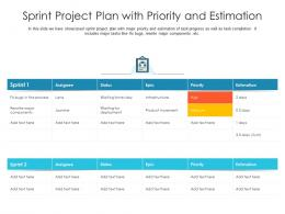 Sprint Project Plan With Priority And Estimation