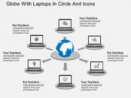 Sq Globe With Laptops In Circle And Icons Flat Powerpoint Design