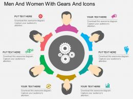 sq Men And Women With Gears And Icons Flat Powerpoint Design