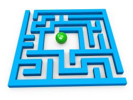 Square Maze With Green Ball In The Center For Solution Stock Photo