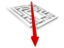 Square Maze With Red Directional Arrow Showing Growth Stock Photo