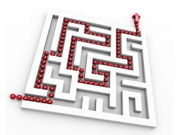 Square Maze With Red Way Arrow For Showing Solution Path Stock Photo