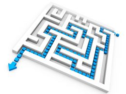 Square Maze With Solution Path For Problem Solving Stock Photo