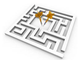 Square Maze With Two Different Yellow Arrows Showing Target Achievement Stock Photo