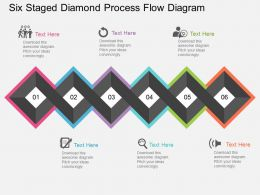 sr Six Staged Diamond Process Flow Diagram Flat Powerpoint Design