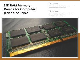 SSD RAM Memory Device For Computer Placed On Table