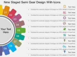st Nine Staged Semi Gear Design With Icons Flat Powerpoint Design