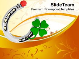 St Patricks Day 3d Lucky Symbol And Lady Bug Shamrock Templates Ppt Backgrounds For Slides