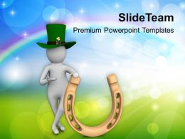St Patricks Day 3d Man And Lucky Horseshoe Templates Ppt Backgrounds For Slides