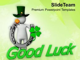 St Patricks Day 3d Man Good Luck Symbol Celebration Templates Ppt Backgrounds For Slides