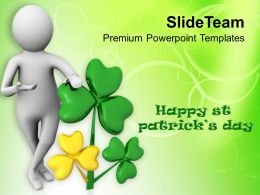 St Patricks Day 3d Man Wishing Happy Powerpoint Templates Ppt Backgrounds For Slides
