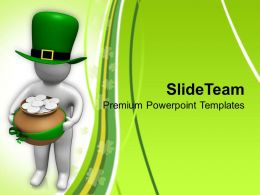 St Patricks Day 3d Man With Hat And Gold Coins Templates Ppt Backgrounds For Slides