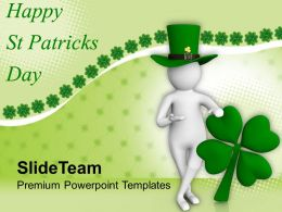 St Patricks Day Clover 3d Man And Leaf Powerpoint Templates Ppt Backgrounds For Slides