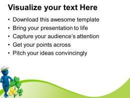St Patricks Day Clover Man Wearing Round Hat With Powerpoint Templates Ppt Backgrounds For Slides