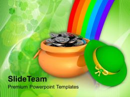 St Patricks Day Clover Pot Of Gold Coins With Rainbow Holiday Templates Ppt Backgrounds For Slides