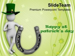 St Patricks Day Date 3d Man With Green Hat Happy Templates Ppt Backgrounds For Slides