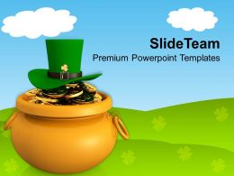 St Patricks Day Date Golden Pot With Coins And Green Hat Templates Ppt Backgrounds For Slides