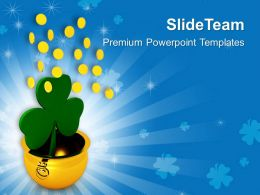 St Patricks Day Date Golden Pot With Shamrock Falling Coins Templates Ppt Backgrounds For Slides