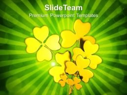 St Patricks Day Date Golden Shamrock Powerpoint Templates Ppt Backgrounds For Slides