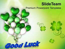 St Patricks Day Date Good Luck With Air Balloons Templates Ppt Backgrounds For Slides