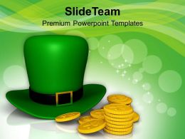 St Patricks Day Date Green Hat And Gold Coins Of Templates Ppt Backgrounds For Slides