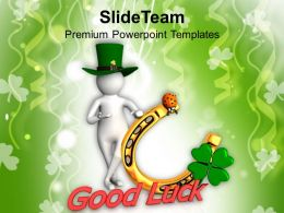 St Patricks Day Date Green Hat Man Showing Good Luck Templates Ppt Backgrounds For Slides