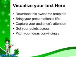 St Patricks Day Date Green Hat Man With Good Luck Symbol Templates Ppt Backgrounds For Slides